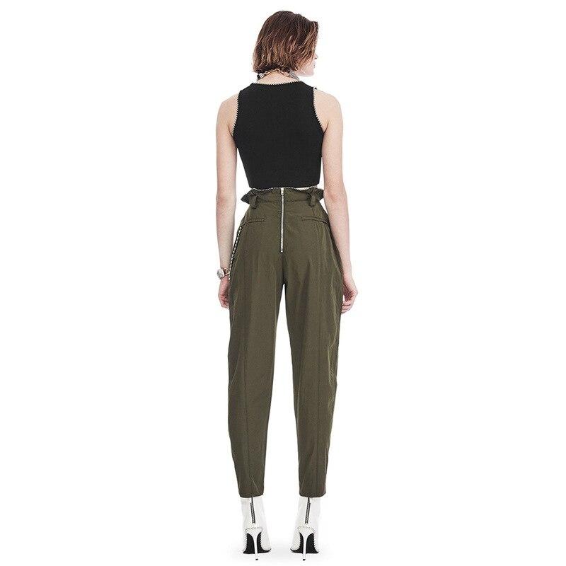 OXANT бисер большой размер шаровары для женщин молния армейский зеленый длина лодыжки брюки женские брюки с высокой талией повседневные - 5