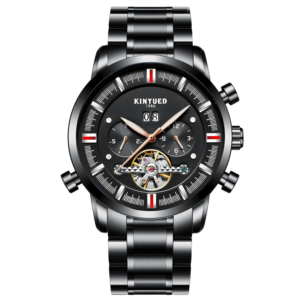 Kinyued Skeleton Tourbillon Mechanical Watch Automatic Men Classic Black Dial Stainless Steel Mechanical Wrist Watches J019G-8 paradise 2016 classic new men black skeleton automatic mechanical stainless steel wrist watch free shipping may23