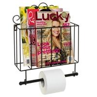 Black Metal Scrollwork Design Wall Mounted Bathroom Magazine Shelf Basket Rack with Toilet Paper Roll Bar