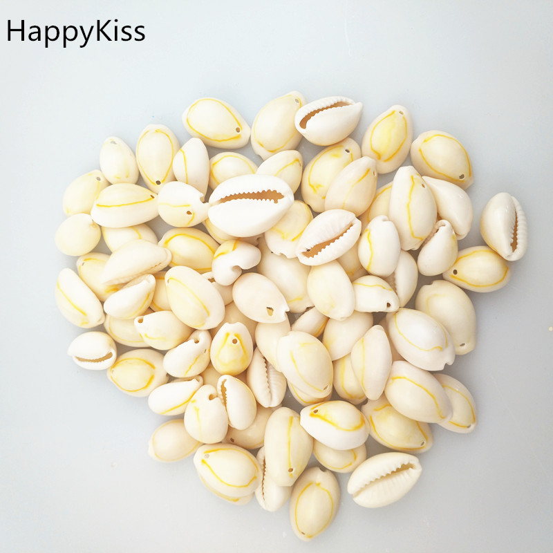 HappyKiss 500g yellow Natural Sea Shells Loose Beads Accessories DIY Ornament Home Fish Tank Decor Phnom penh screw in Shells Starfishes from Home Garden