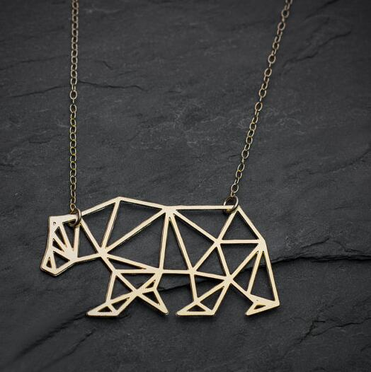 Bear Necklace Polar Bear jewelry geometric necklace  Hollow Out Animal Necklace & Pendants Party Accessories