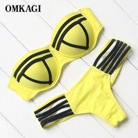 OMKAGI Patchwork Strapless Bikini Women Push Up Bikini Set Low Waist Brazilian Swimwear Women Summer Bandage