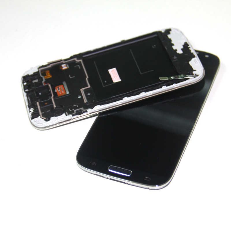 لسامسونج غالاكسي S4 i9505 LCD الجمعية شاشة تعمل باللمس عرض محول الأرقام + الإطار الحافة ل سامسونج S4 I9500 I9505 شاشة