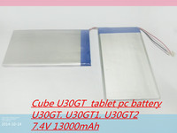 7.4V 13000mAh Tablets Batteries DIY Cube U30GT, U30GT1, U30GT2 dual four core tablet pc battery Size:3.5 * 151 * 125 mm