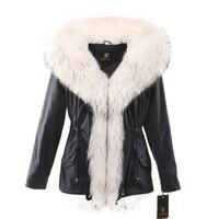 Женские зимние парки пальто куртка лиса енот воротник кроличий мех съемный подкладка с капюшоном черный голубой ткани цвета: белый, серебри