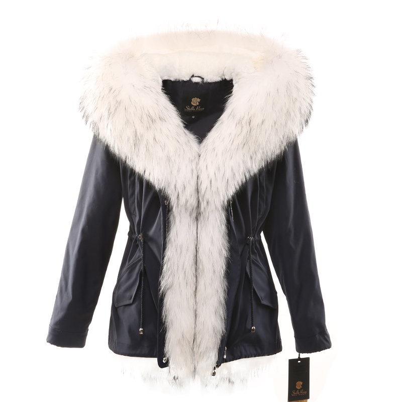 Womens winter   parka   coat jacket fox raccoon collar rabbit fur detachable liner hooded black blue green fabric white silver 17018