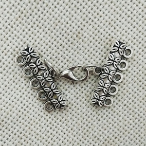 Antique tibet silver necklace pendants bails lobster clasp jump ring charms connector 5 strands toggle bracelet multilayer loops(China)
