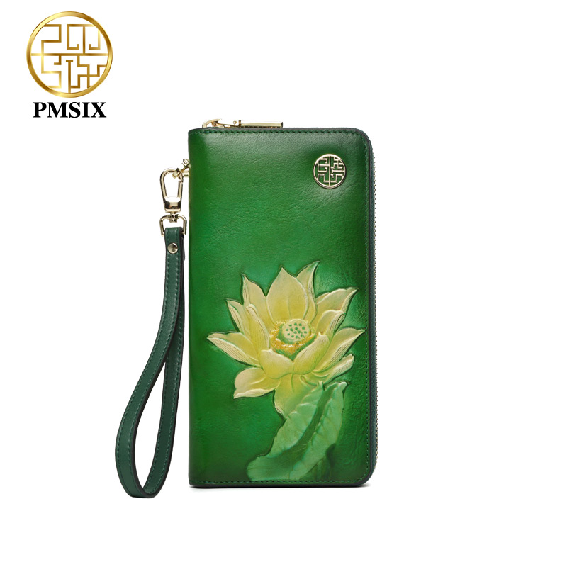 Pmsix Luxury Female Purse real cow Leather Clutch Wallet embossed flowers long zipper women purse Carteira