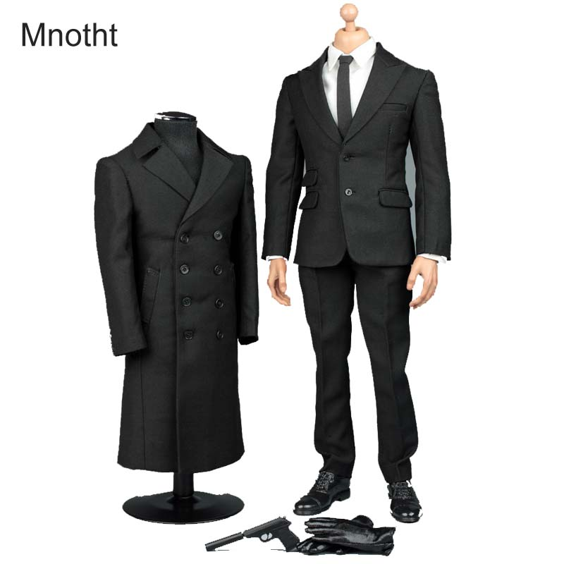 Mnotht 1/6 Solider James 007 Bond Secret Suit Overcoat V1006 Shirt + Pants+ Shoes + Gloves+necktie For 12in Action Figure Toy l3 mnotht 1 6 action figure panzer third