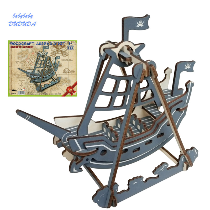 3D Pirate Boat Model  Mini Wooden Puzzle Woodcraft Construction Kit Ship Educational Jigsaw Toy for Children