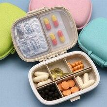 8 сеток Органайзер контейнер для таблеток дорожная коробка для таблеток с уплотнительным кольцом маленькая коробка для таблеток Пшеничная солома контейнер для медикаментов