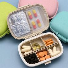 8 grids organizer pojemnik na tabletki podróżne pudełeczko na tabletki z pierścieniem uszczelniającym małe pudełko na tabletki pojemnik na słomkę pszenną na leki cheap luluhut PJH0001 10 kg Tablets Ekologiczne Zaopatrzony 9-14 sztuk cukierków alps 10 8*7 1*3cm Błyszczący Zestaw medyczny