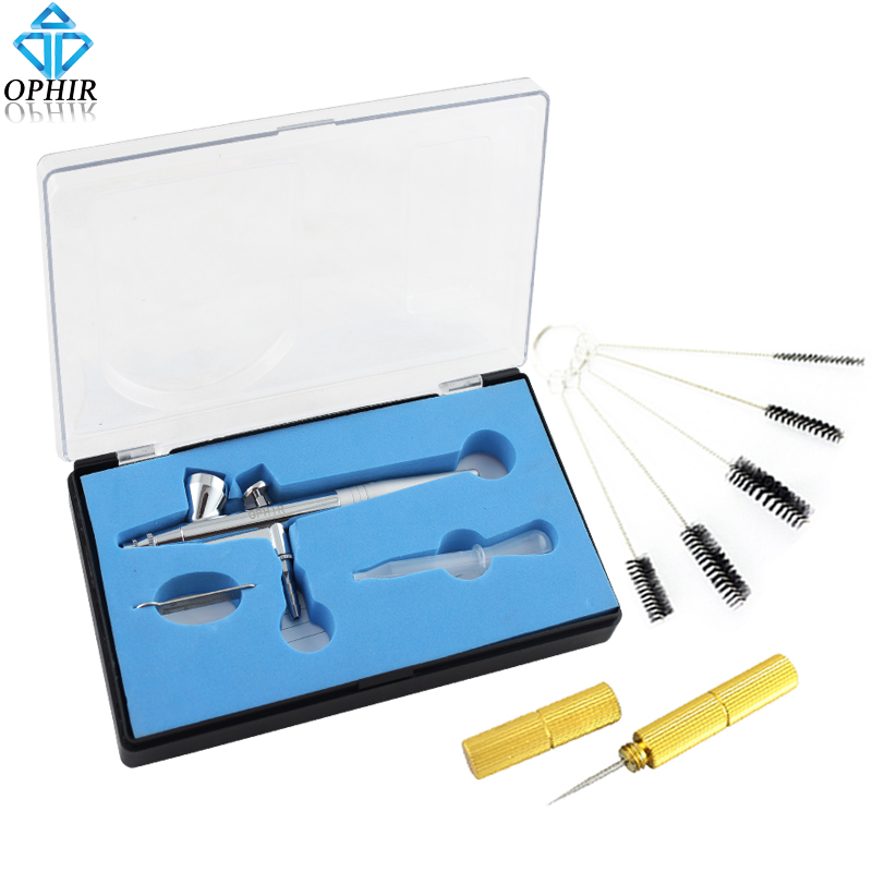 OPHIR 0.3mm Dual-Action Airbrush Gun/Air-brush with Cleaning Needle & Brush for Model Hobby Cake Nail Art Temporary Tattoo_AC007 ophir 0 3mm airbrush kit with mini air compressor single action airbrush gun for cake decorating nail art cosmetics ac002 ac007