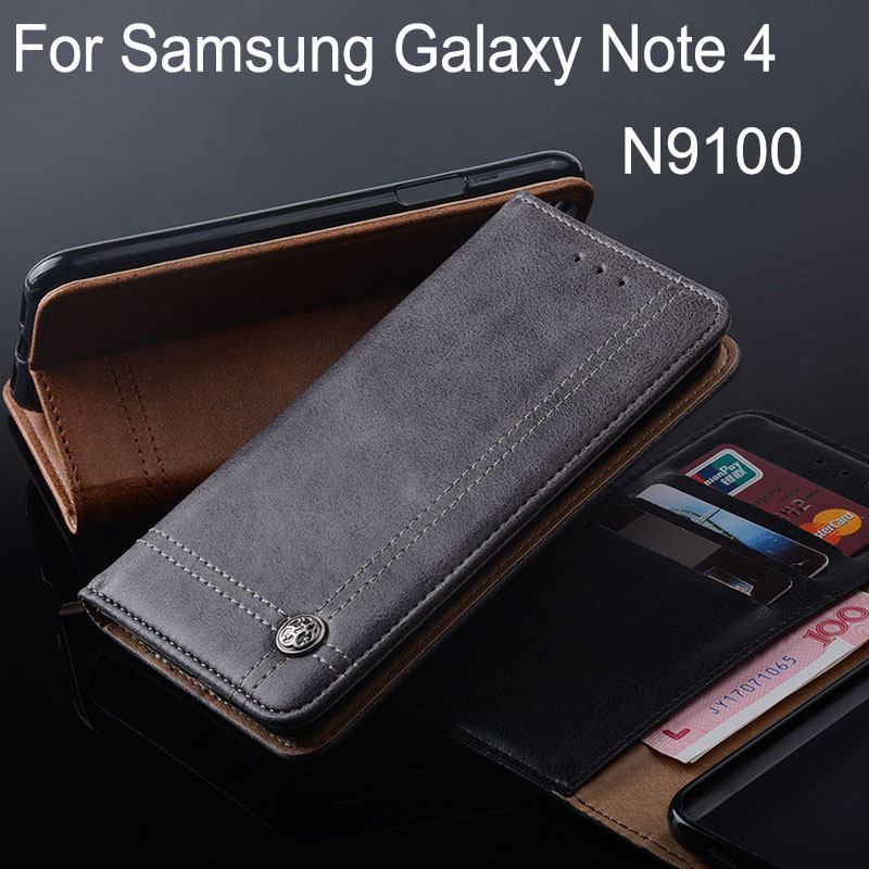 Galleria fotografica coque for samsung galaxy note 4 case Luxury Leather Flip cover Stand Card Slot cases for samsung galaxy note 4 Without magnets