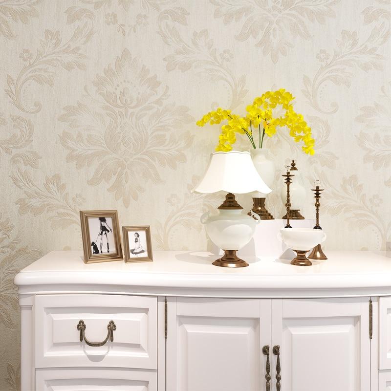 HANMERO White Classic Style Wallpaper Embossed Damask Pattern Rolls Wallpaper Waterproof Vinyl for Living Room Bedroom QZ0393 creamy white living room bedroom damask wallpaper