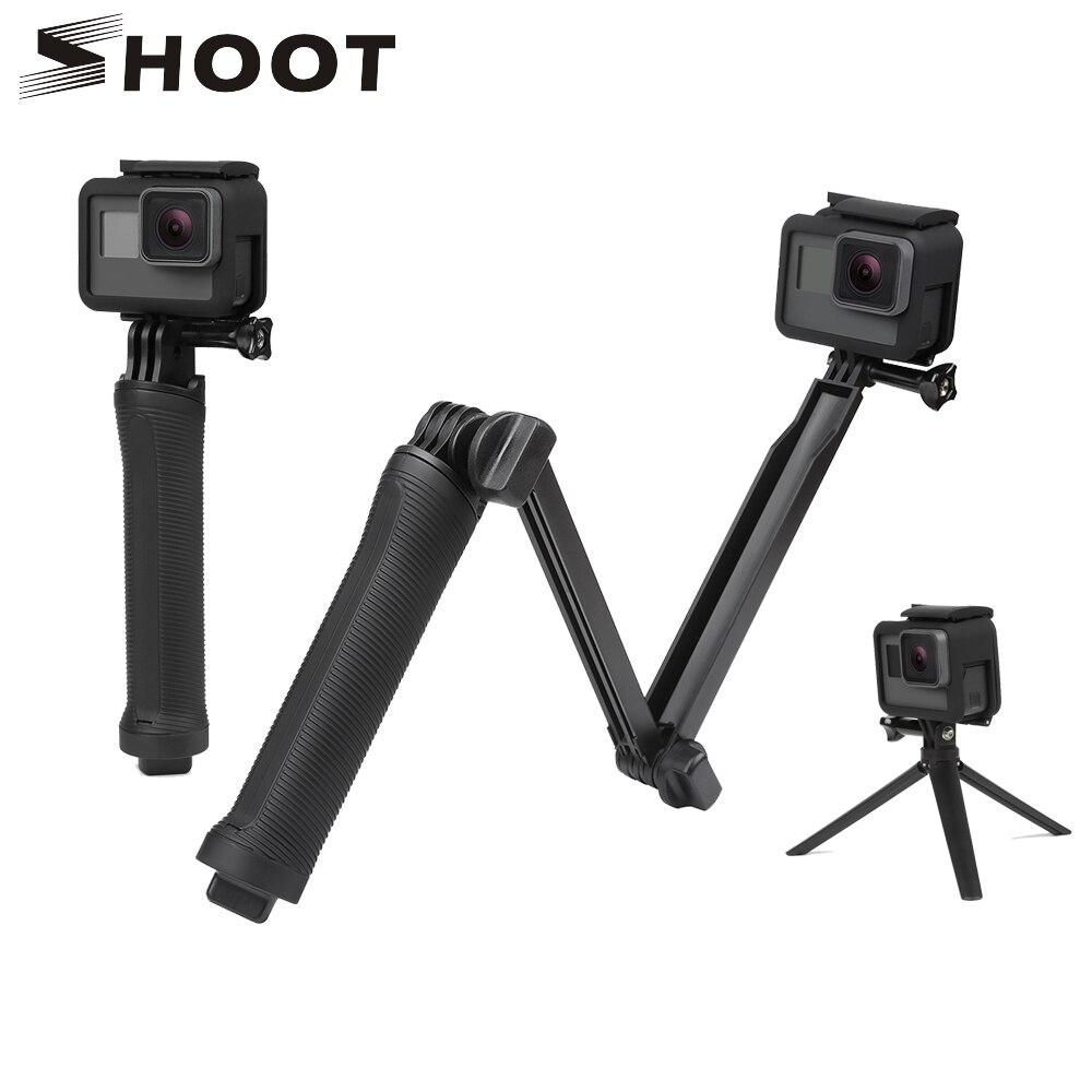 Disparar 3 vías Monopod Selfie Stick para GoPro Hero 6 5 4 Sjcam Sj4000 Eken H9 H9r Xiaomi yi 4 K Go accesorios Pro