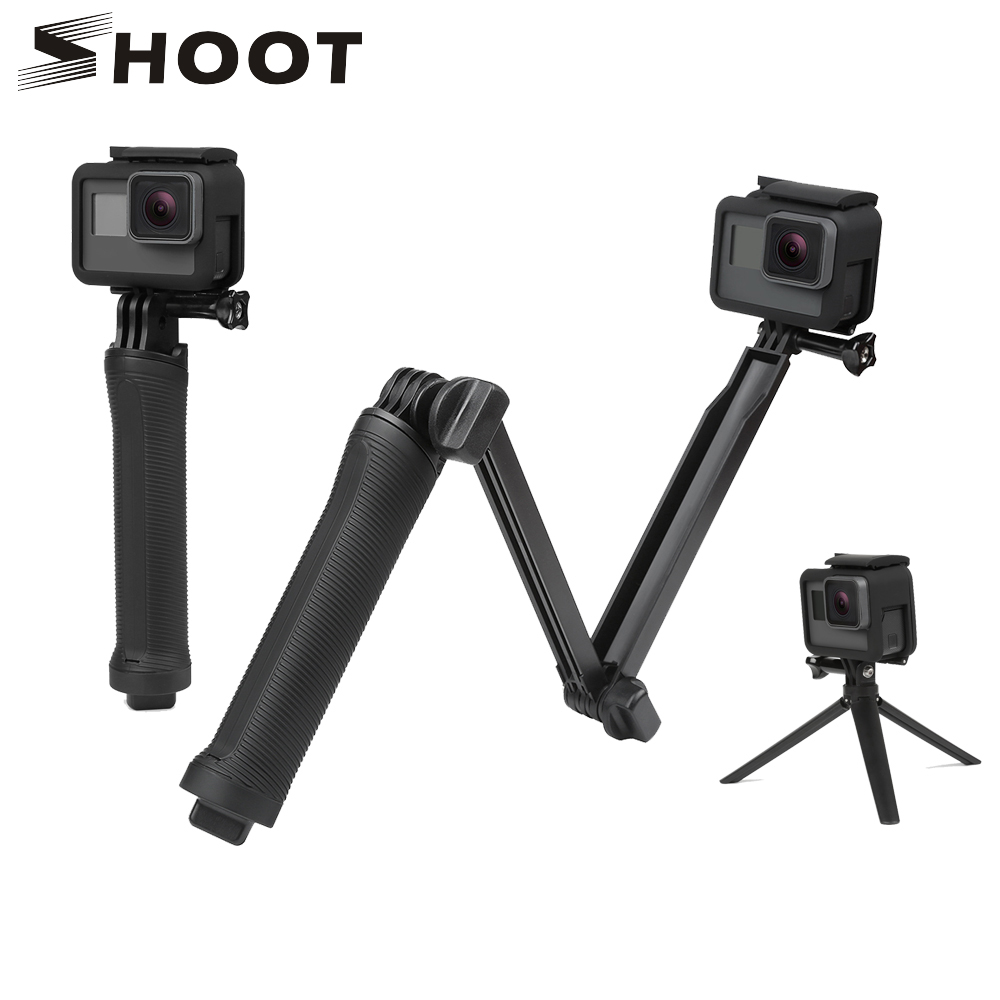 SHOOT 3 Way Grip Monopod Selfie Stick for GoPro Hero 6 5 4 Session Sjcam Sj4000 Eken H9 H9r Xiaomi Yi 4K Go Pro Hero Accessories