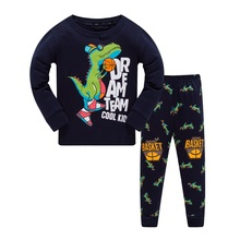 Купить с кэшбэком Long Sleeve Pajamas Sets For Children Cotton Printed With Dinosaur Or Plane Kids Sleepwear Toddler Kids Clothes Suit 3T-8T