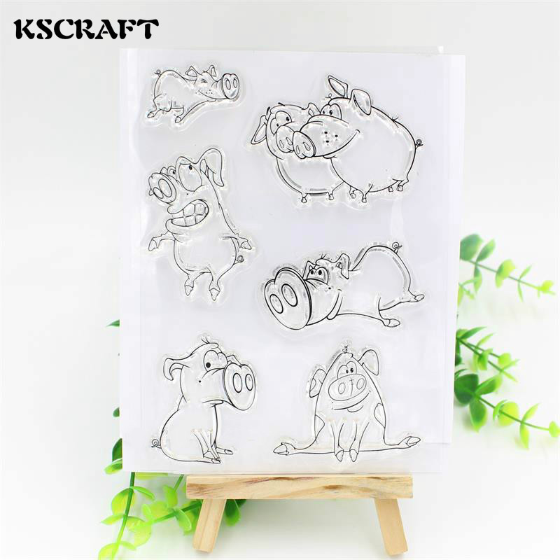KSCRAFT Cute Pig Transparent Clear Silicone Stamp/Seal for DIY scrapbooking/photo album Decorative clear stamp sheets kscraft love travelling transparent clear silicone stamp seal for diy scrapbooking photo album decorative clear stamp sheets