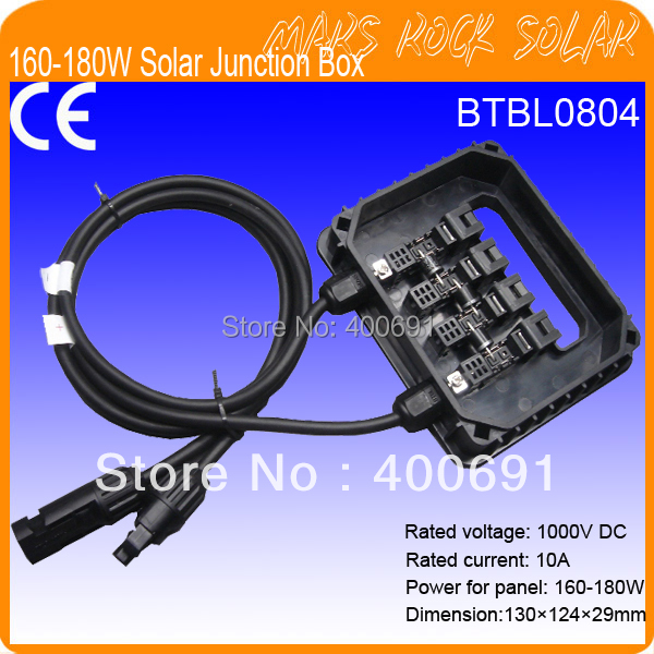 160-180W IP65 Waterproof Solar Junction Box with 3 Diodes(10SQ050), MC4 Connector, 90CM Cable, Plastic Plugs 4pcs a lot diy plastic enclosure for electronic handheld led junction box abs housing control box waterproof case 238 134 50mm