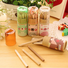 12Pcs Barrel Cute Mini Bear Colored Pencils Rainbow Color Pencil For Drawing Stationery Office Material School