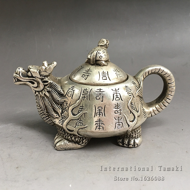 CHINESE OLD COPPER HANDWORK DRAGON TEA POT AAA