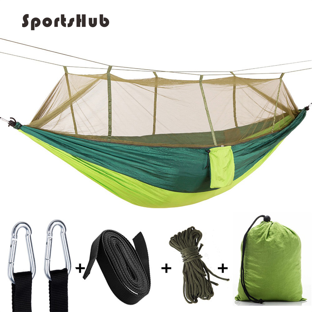 Camping & Hiking Have An Inquiring Mind Sportshub Ultralight Parachute Hammock Tent Anti-mosquito Net Double Person Outdoor Camping Hunting Hammock Sleeping Bag Ses0034 Durable Service