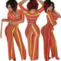 women Long jumpsuit  rompers  dashiki Aztec Tribal Vintage Print one piece Bodycon wide leg summer loose jumpsuits romper v neck