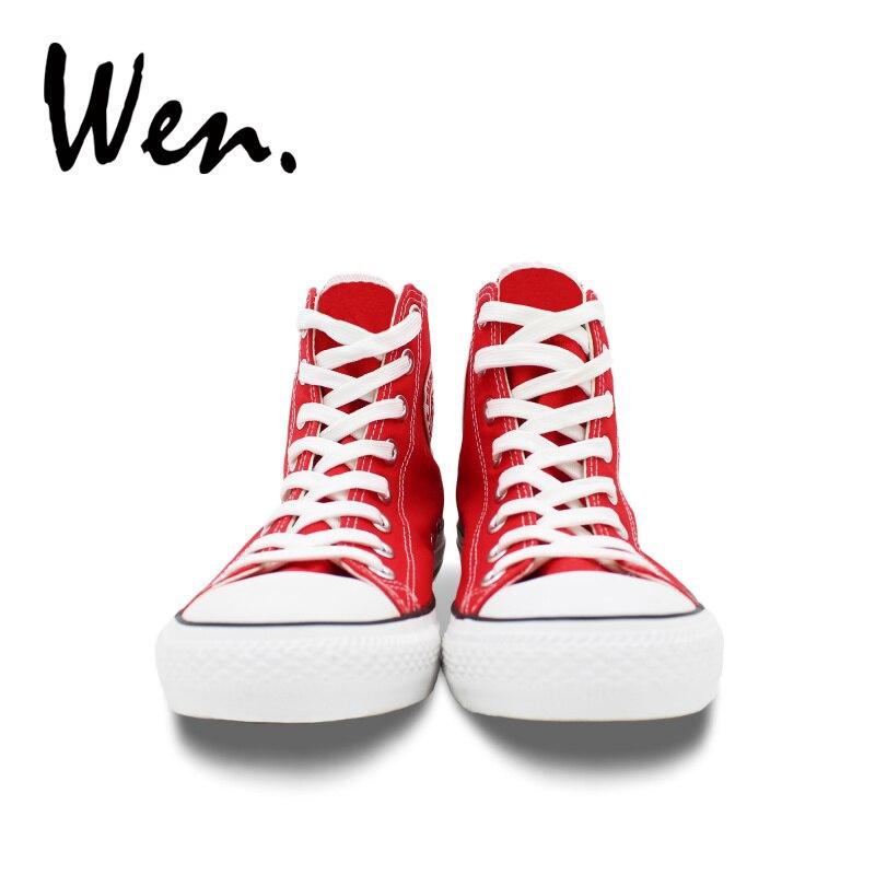 Wen chaussures en toile rouge Design tongs fête de l'indépendance américaine hommes femmes baskets hautes Plimsolls anniversaire cadeaux de noël - 5