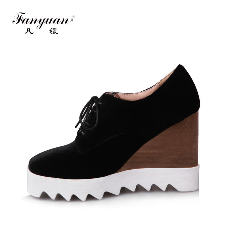 ФОТО Fanyuan 2017 Wedges Shoes Wholesale Women Pumps Spring High Quality Flock Platform Pump Retro Lace-up Thick High Heels Shoes