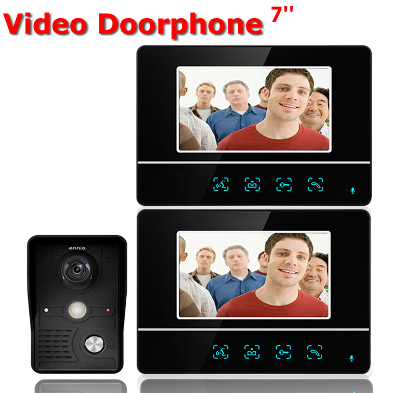 Free shipping 7'' wired color video door phone Intercom system video doorbell kit IR 1 outdoor camera +2 monitors 811MKB12 brand new wired 7 inch color video intercom door phone set system 2 monitor 1 waterproof outdoor camera in stock free shipping