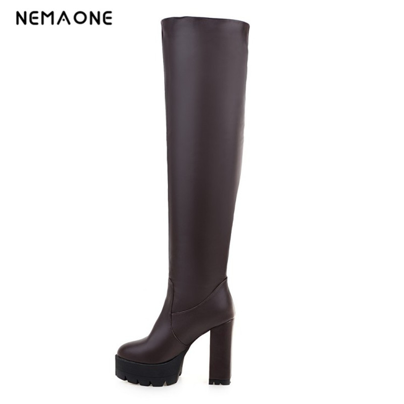 NEMAONE black white Winter Boots Shoes Woman High Quality Sexy Women Thigh High Boots slip on
