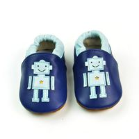 2017 Spring Style Genuine Leather Baby Moccasins Blue Robot Pattern Toddler Boy Shoes First Walker Black