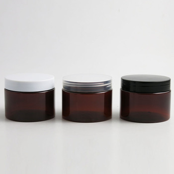 30 x 5oz 150g Amber Black PET Round Jar with Plastic cap for Lotion Balm Cream Makeup Cosmetic Sample Ointment Beauty Container