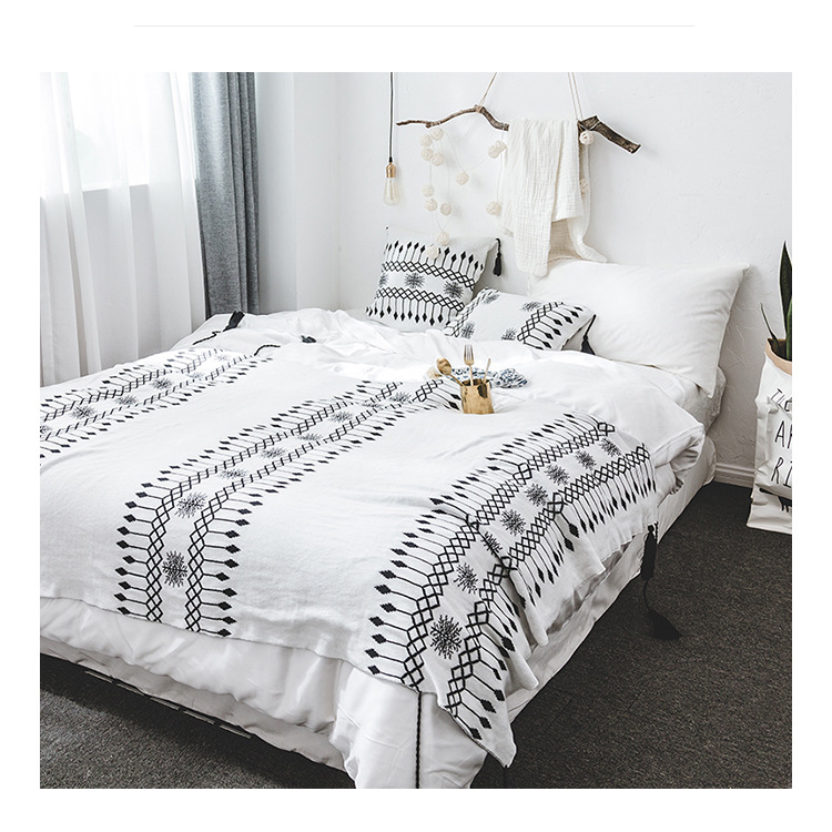 cotton black and white throw blanket bedding baby knitted blankets plaids cushion cover with. Black Bedroom Furniture Sets. Home Design Ideas