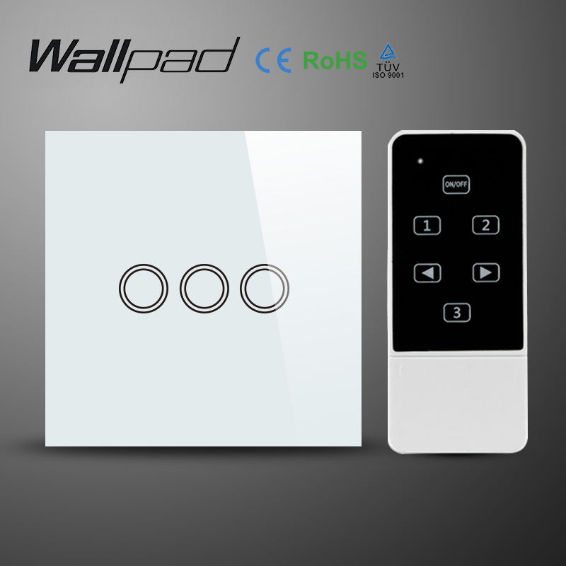 Wallpad Wireless White Glass 3 Gang Remote Control Touch Switch with LED indicator,RF433Mhz,Wall Light Switch for UK Standard eu 1 gang wallpad wireless remote control wall touch light switch crystal glass white waterproof wifi light switch free shipping