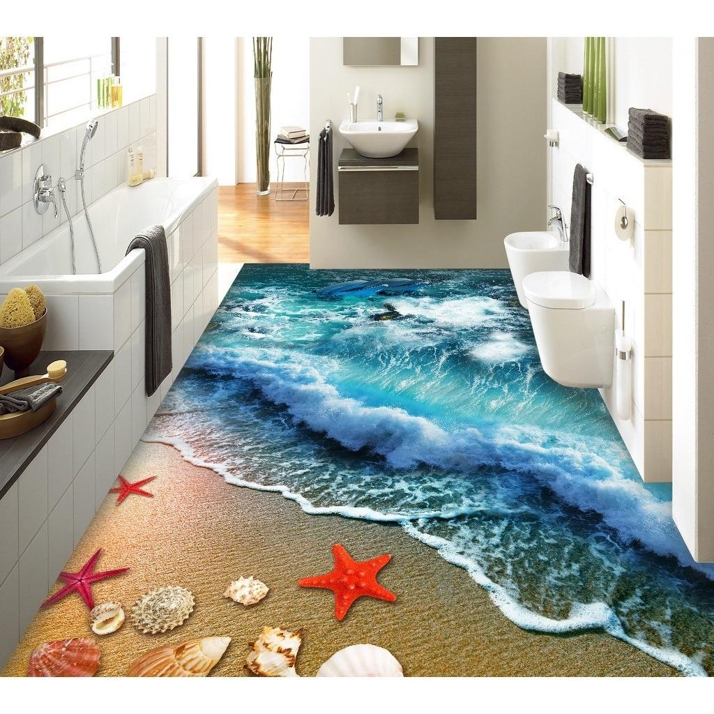 US $17.45 41% OFF 3D pvc bodenbelag benutzerdefinierte wandaufkleber 3D  Strand sand wellen surf bad bodenbelag malerei foto wallpaper für wände  3d-in ...