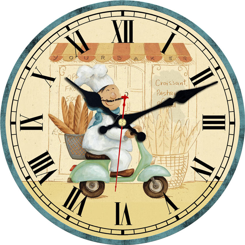 Kitchen Cook Wall Clock,Chef Vintage Fashioned Chic Clock, Wooden Wall Clock For Living Room Lounge Study Bedroom ,Silent Round