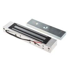 Única porta 12v elétrica magnética fechadura eletromagnética 180kg (350lb) força de retenção para controle de acesso prata