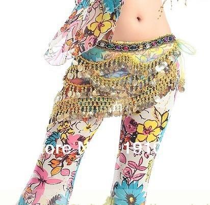 Belly dance costume,clear waist chain ,rainbow belly dance hip scarf.