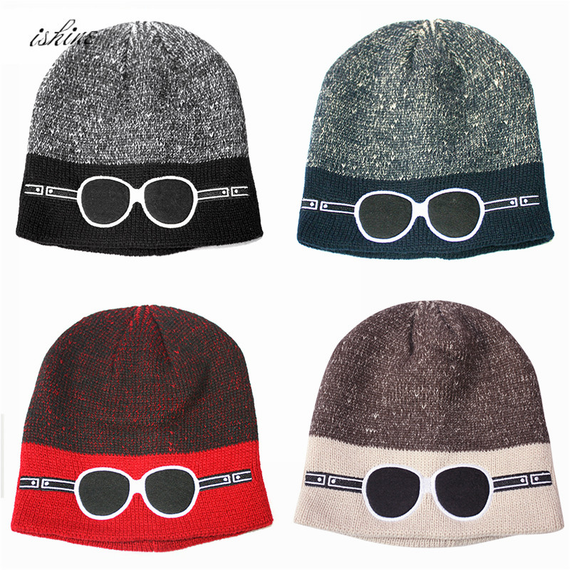 0802e127f4279 Red Winter Skiing Warm Knit Caps Glasses Embroidery Black Women Men Unisex Beanies  Caps Hats For Winter Snowing Skiing-in Skullies   Beanies from Apparel ...