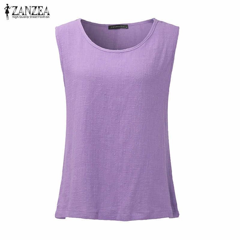 ZANZEA женские летние топы на бретелях 2019 винтажные блузки без рукавов повседневный стиль, широкий крой без рукавов хлопковые рубашки Blusas Femininas Плюс Размер