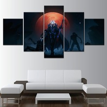 Full Moon World of Knight 5 Piece Canvas Printing Type Moular Picture Modern Home Decorative Wall Artwork Poster Framework
