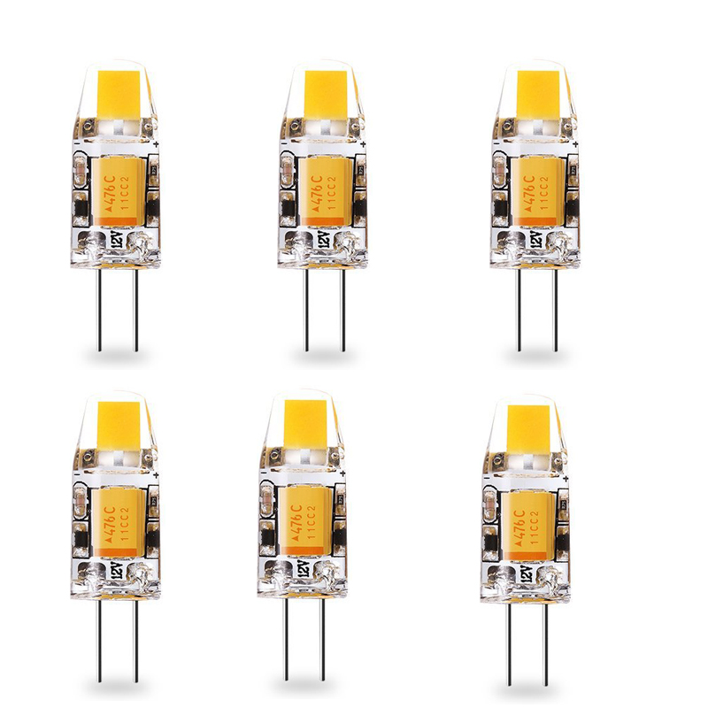 6pcs G4 LED Bulb 12V AC DC Replace 10w Halogen G4 COB LED Lamp Lampada leds lampara 360 degrees Warm Natural Cool White