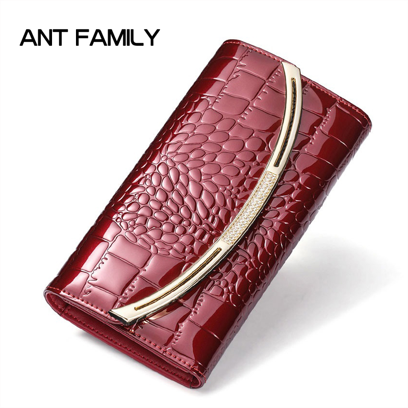 Ladies Genuine Leather Wallet Women Fashion Patent Leather Wallets Luxury Brand Coin Purse Female Clutch 3 Fold Cowhide Wallet