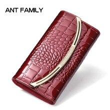 7841b936a42 Vrouwen Echt Lederen Portemonnee Dames Mode Patent Lederen Portefeuilles  Luxe Merk Portemonnee Vrouwelijke Clutch 3 Fold