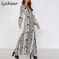 Lycheeer Plus Size Sexy Snake Print Long Maxi Dress Women Elegant Sashes Chiffon Party Dress Vintage Big Size Dress Vestidos