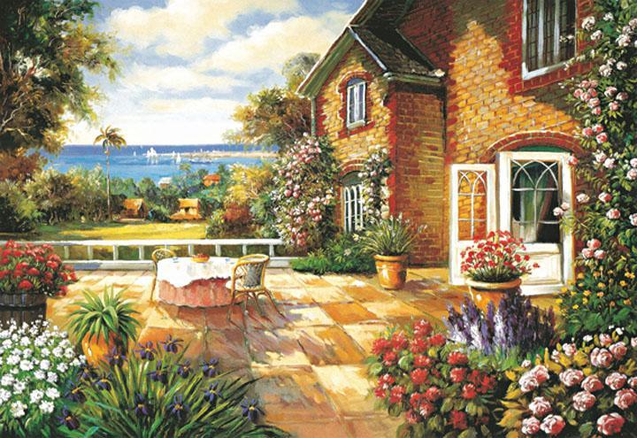 puzzle 1000 pieces Flower Garden paper jigsaws Landscape puzzle common type educational font b Toys b