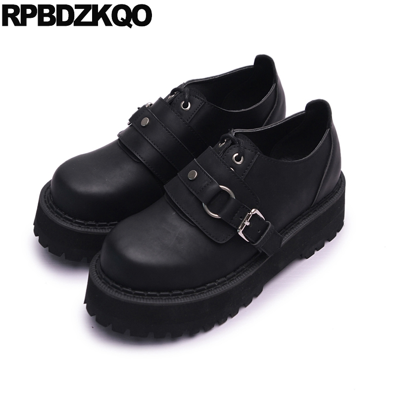 Slip Resistant Elevator Flats Muffin Metal Platform Lace Up Harajuku Creepers Shoes Women Black Thick Sole European Fashion