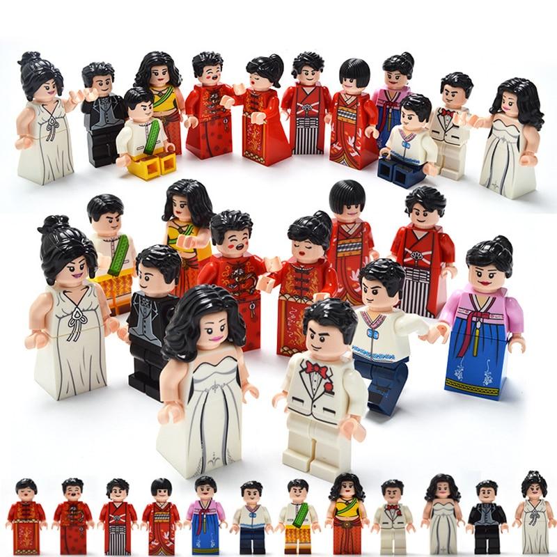 12 Pcs/set DIY Figures Style Wedding Character Building Blocks Bricks Kids Assemble Toys Compatible City Set Children Gifts